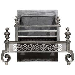 Polished Steel, Antique Georgian Style Antique Fire Grate