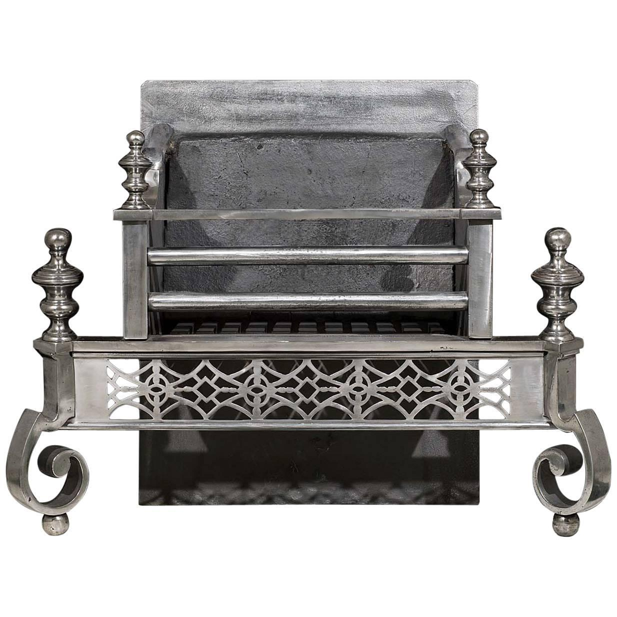 Polished Steel Antique Georgian Style Antique Fire Grate For Sale At 1stdibs