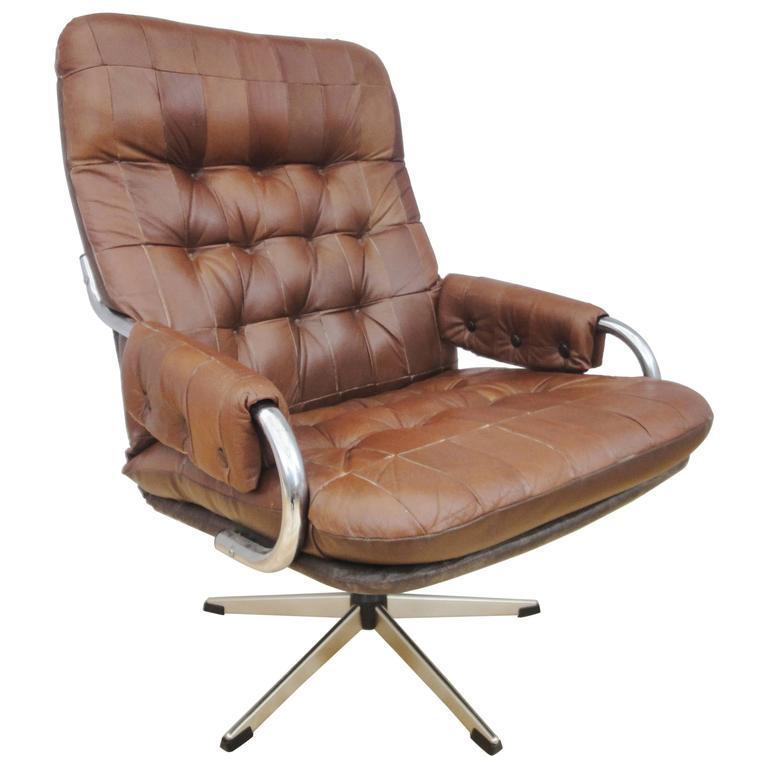 Mid Century Retro Danish Brown Tan Leather Swivel Lounge