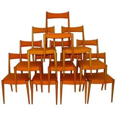 Orange Mid-Century Modern Dining Chair by Anna Luelja Praun, Vienna, 1953
