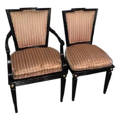 Set of Six Hollywood Regency Style Dining Chairs in the Manner of Maison Jansen