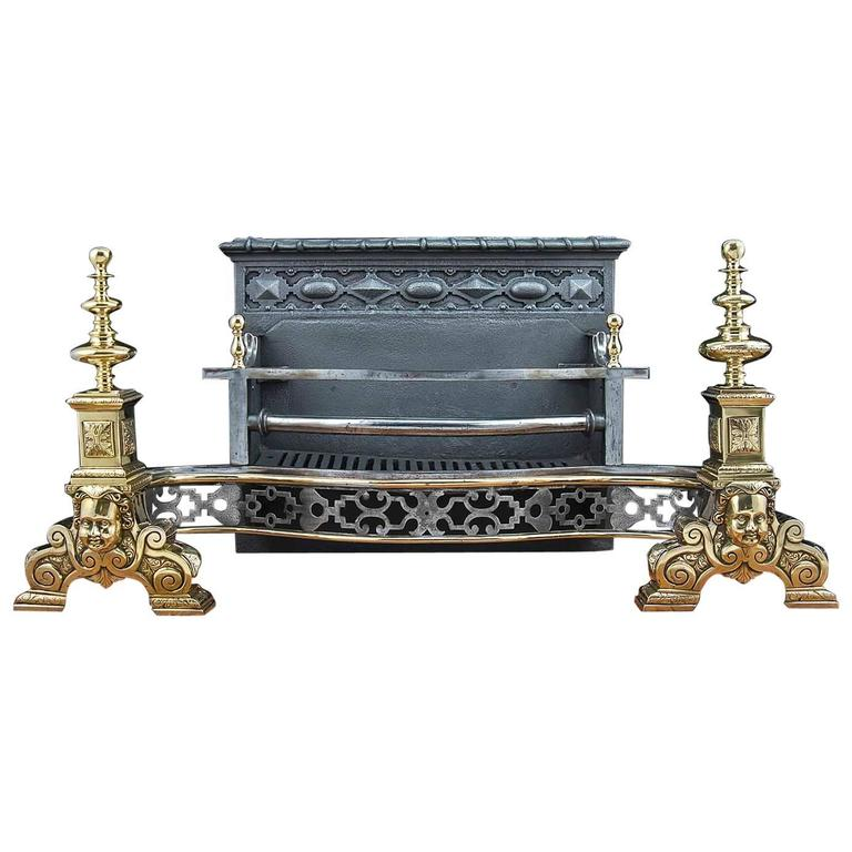 Antique Victorian Brass And Cast Iron Fireplace Grate English Circa 1890 At 1stdibs