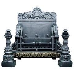 Large and Stately Antique Cast Iron Baroque Style Fireplace Grate, circa 1840
