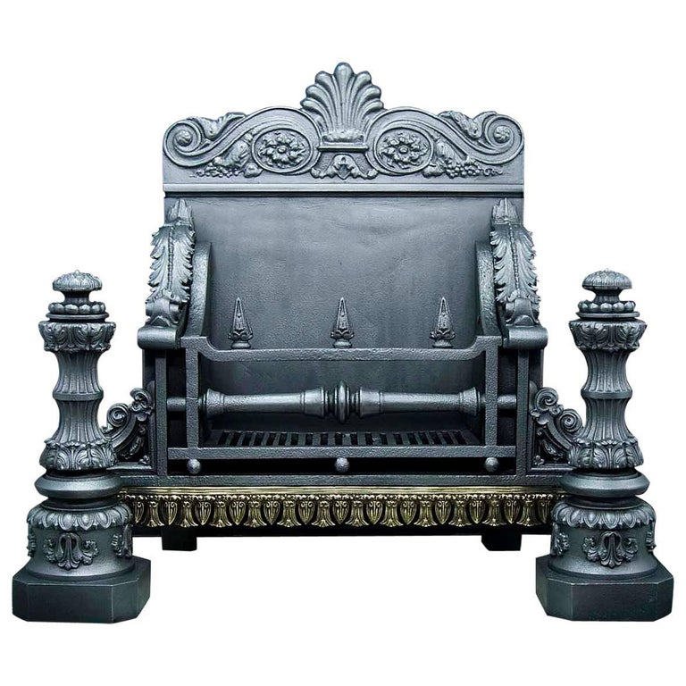 Stately Antique Cast Iron Baroque Style, Antique Victorian Cast Iron Fireplace Grate