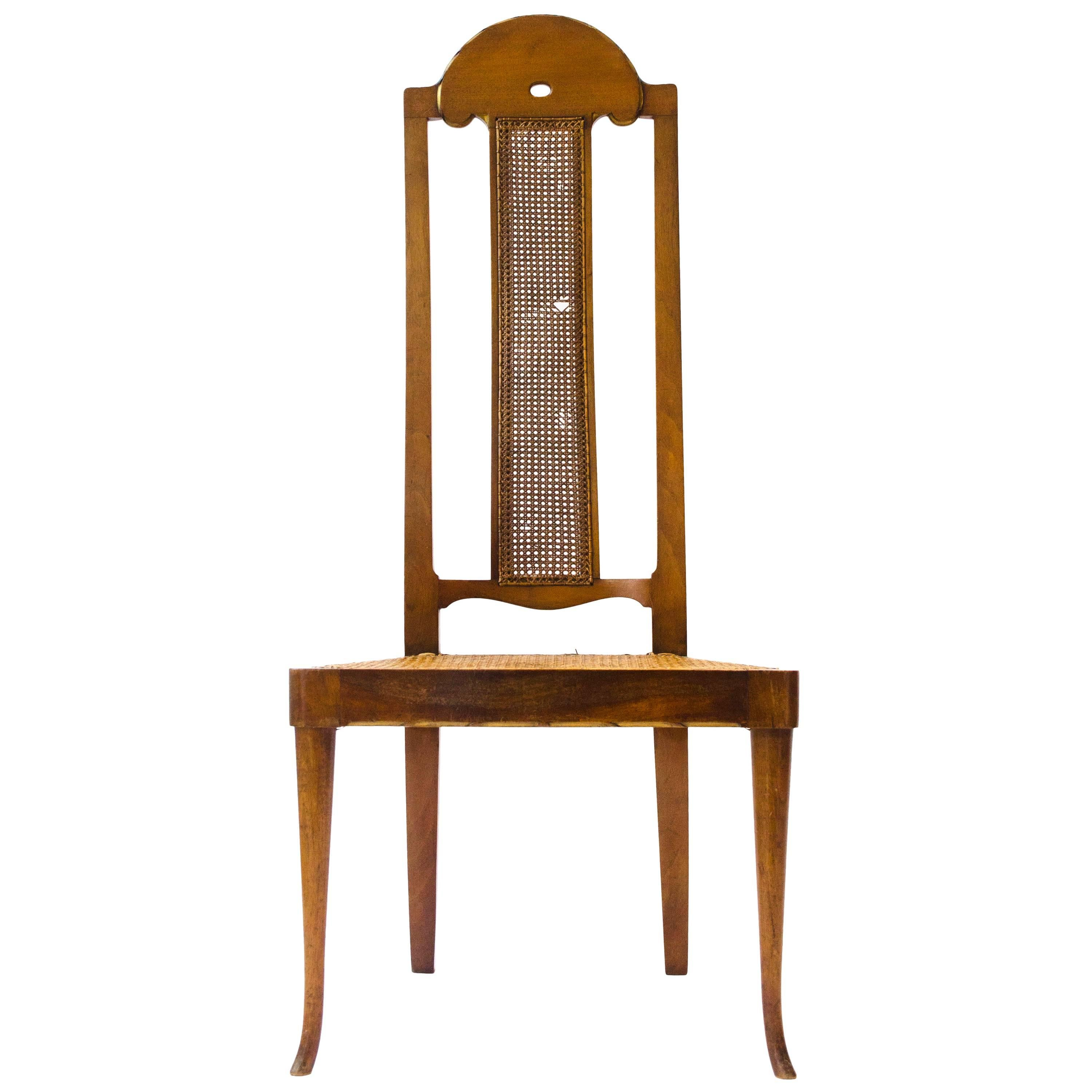 George Walton. A Rare Arts & Crafts Philippines Cane Chair with Serpentine Back