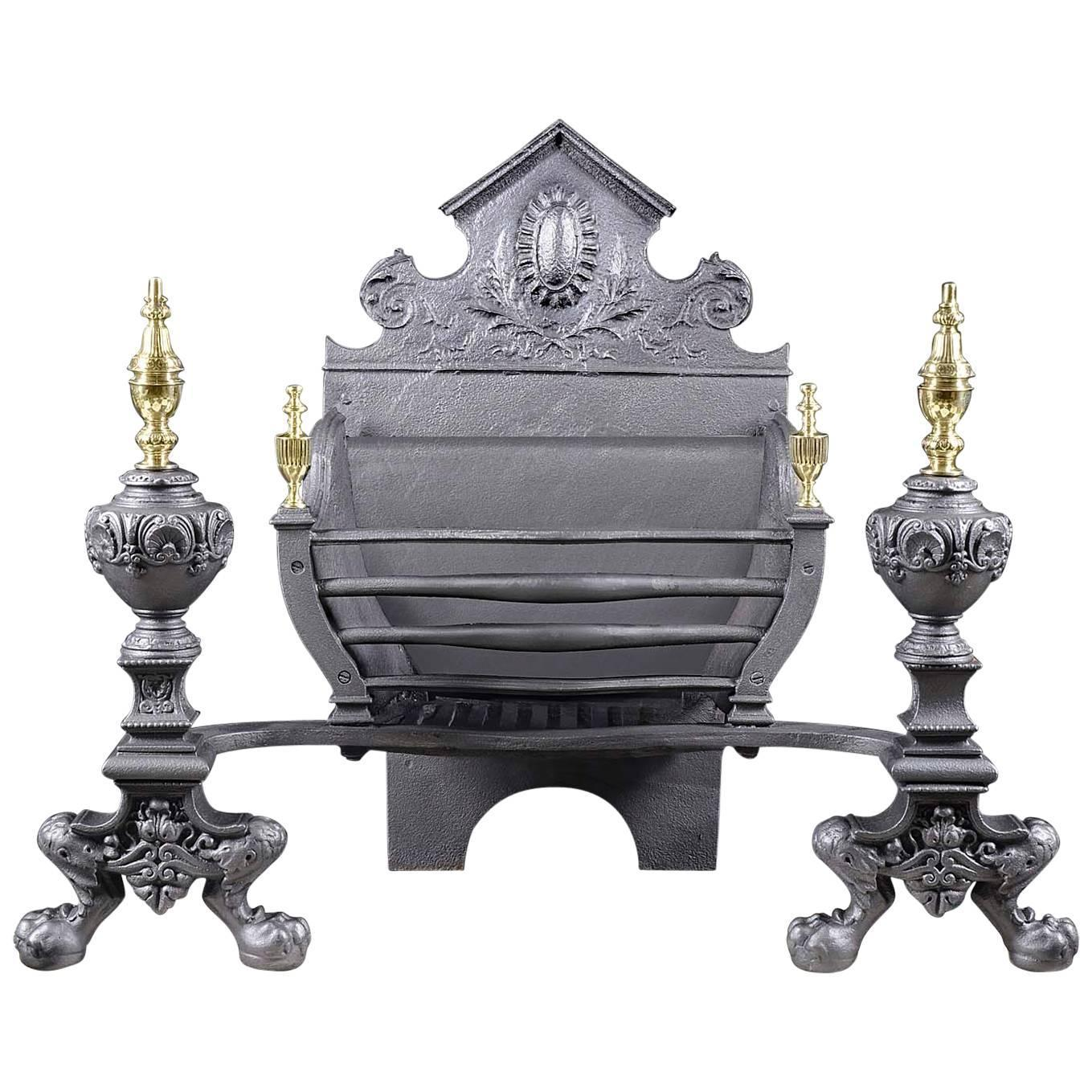 Large Antique Victorian Cast Iron And Brass Fireplace Grate Circa 1880 For Sale At 1stdibs