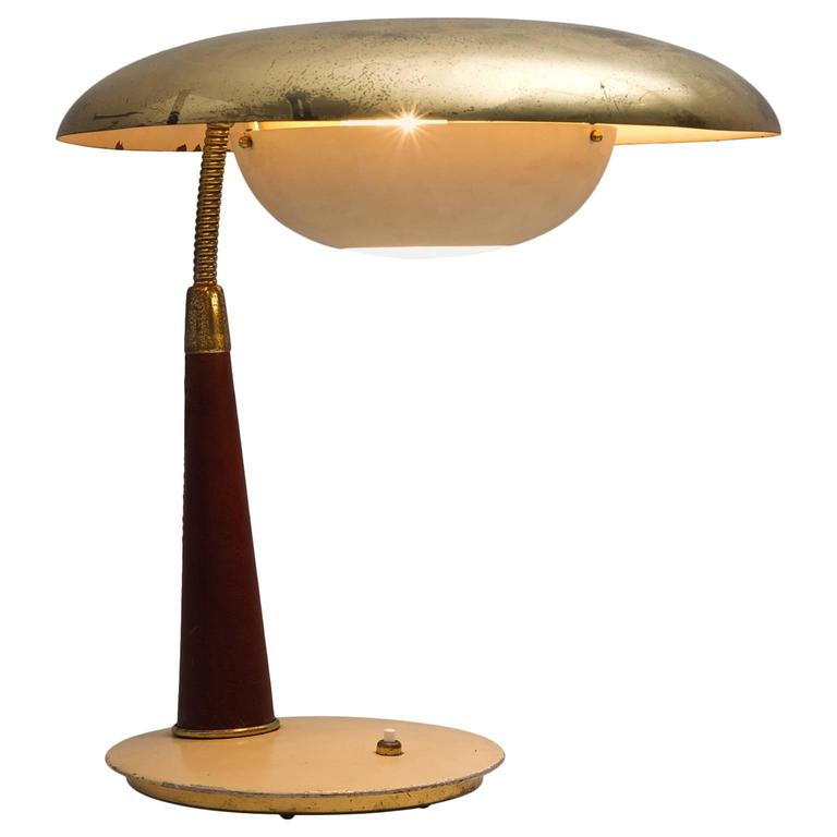 Angelo Lelii Brass and Leather Table Lamp for Arredoluce 1