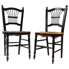 Morris & Co. Pair of Ebonised Rush-Seat Sussex Chairs by Daniel Gabriel Rossetti