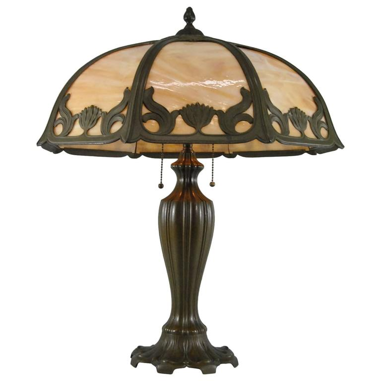 Signed Miller Art Nouveau Eight Panel Slag Glass Lamp In Caramel At