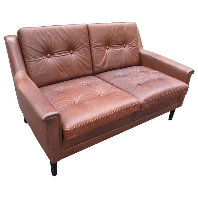 Danish Modern Leather Loveseat At 1stdibs