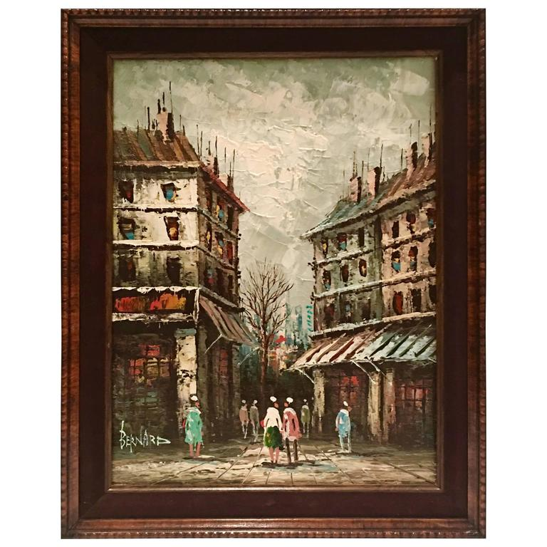 Mid-Century Original Oil on Canvas Paris Street Scene Painting by ...