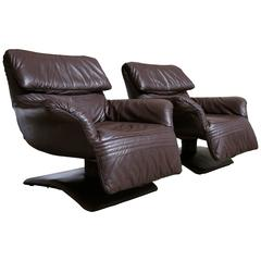 Pair of Leather Swivel Lounge Chairs