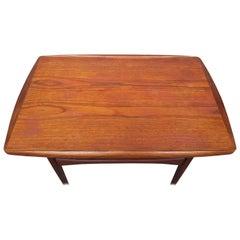 Kip Stewart End Table in Teak with Rolled Edge and Lower Slat Shelf