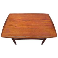 Kip Stewart End Table in Teak with Rolled Edge and Lower Slat Shelf