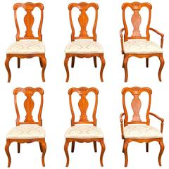 Set of Six Provincial Mahogany Dining Chairs by Henry Link