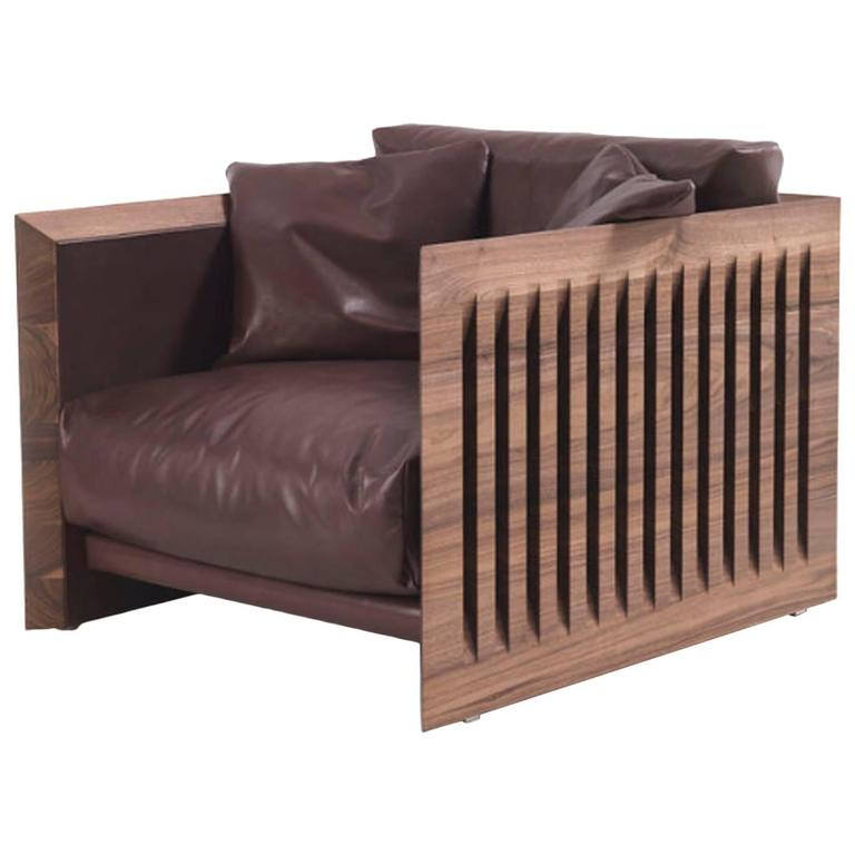 Ray Wood Armchair in Solid Natural Oiled Walnut Wood and Leather For Sale