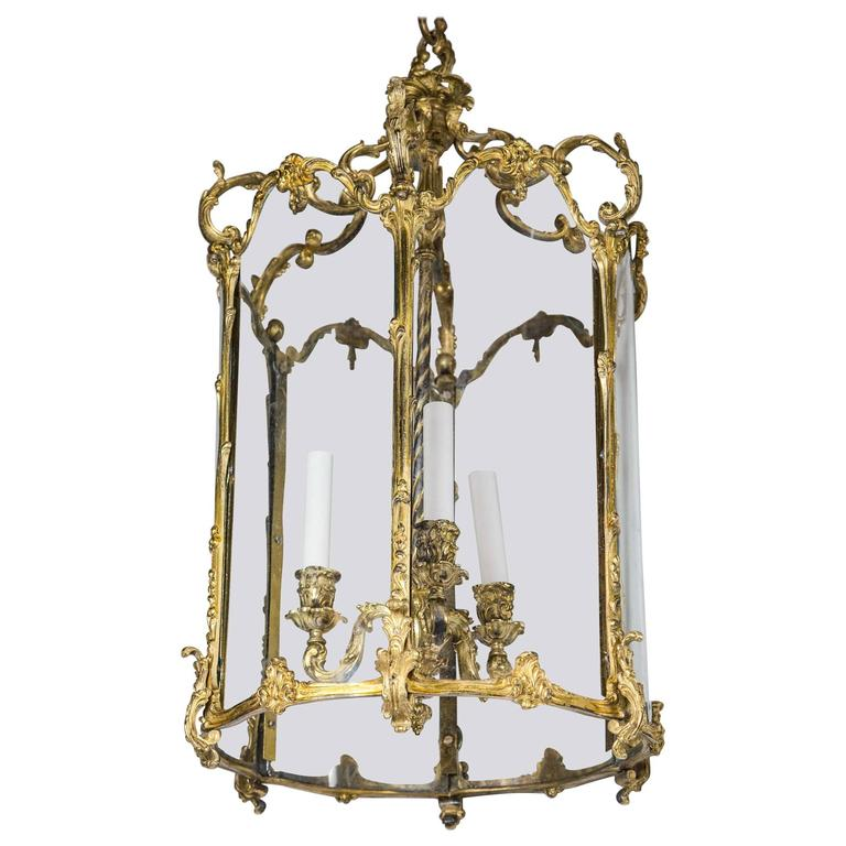 Louis XV Style Six Sided Gilt Bronze Three-Light Lantern