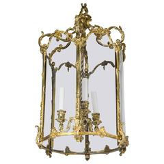 Louis XV Style Six Sided Gilt Bronze Three-Light Lantern