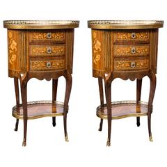 Pair of Galleried Marquetry Side Tables