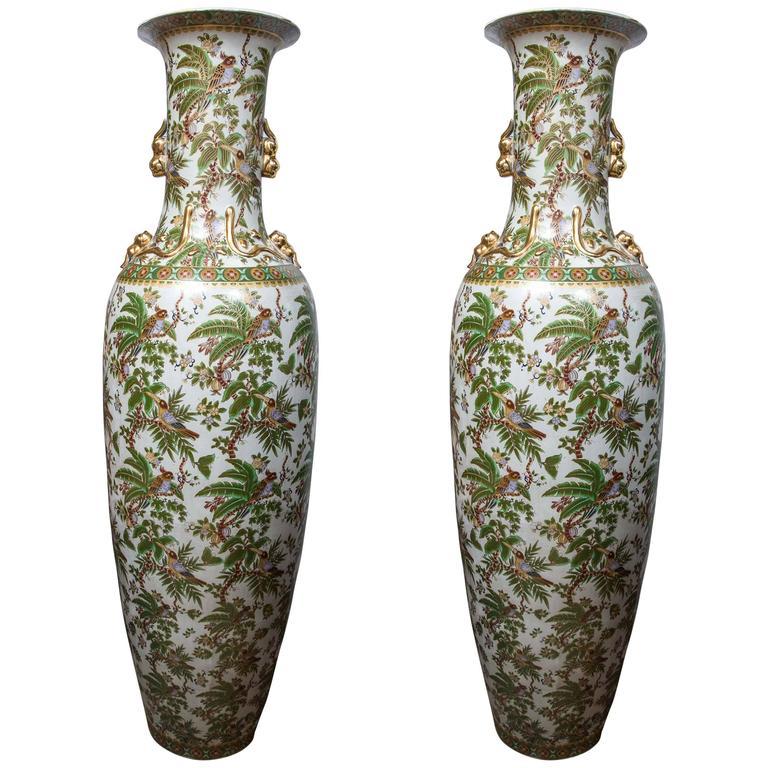 Monumental Pair of Porcelain Vases