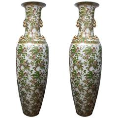 Monumental Pair of Porcelain Vases