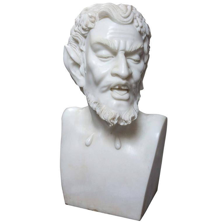 Solid White Marble Bust of the Satyr For Sale