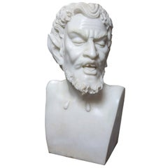 Solid White Marble Bust of the Satyr