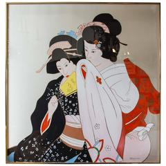 Japanese Silk Screen of Two Geishas