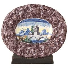 Mid-18th Century Italian Faience Platter with Repoussé Rim