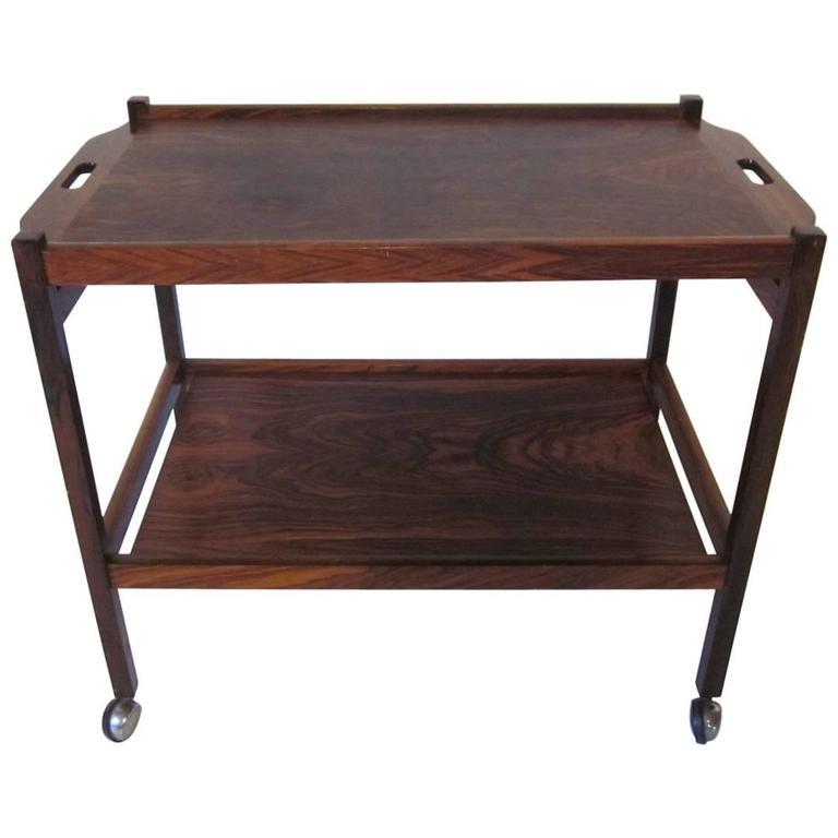 Danish Rosewood Serving or Bar Cart
