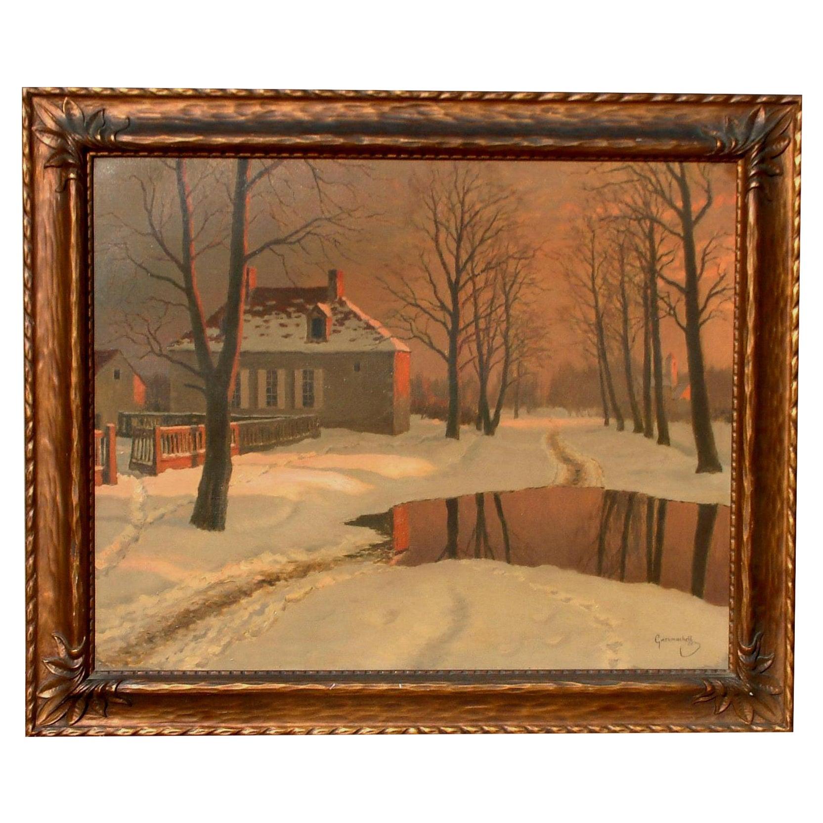 Mikhail Germachev Russian Artist Winter Snow Scene, Oil on Canvas