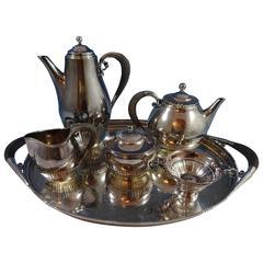Georg Jensen, Wendel Sterling Silver Tea Set five Piece #45 with Tray