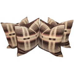 19th Century Brown Horse Blanket Pillows, Pair