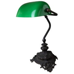 Emeralite Green Case Glass Shade Adjustable Desk Lamp