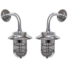 Pair of Ship's Chrome Passageway Lights