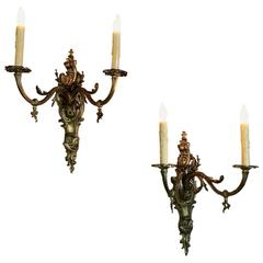 Pair of 19th Century French Louis XV Gilt Bronze Gasolier Wall Sconces