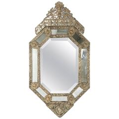 Large Napoleon III Period Bronze Repoussé Cushion Mirror with Octagonal Frame