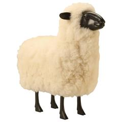 Lalanne Style Lamb, made of Resin and Covered with Real Sheep Fur