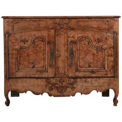 19th Century French Louis XV Style Hand-Carved Burled Ash Buffet or Sideboard