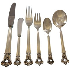 Monica by Cohr Sterling Silver Flatware Service for Eight, Dinner Set 52 Pieces