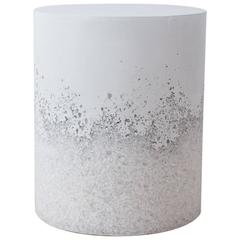 Hand Made White Opal and White Plaster Drum, Side table by Samuel Amoia