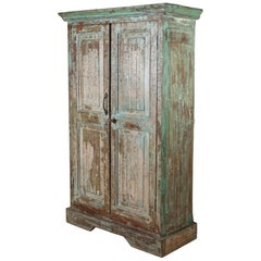 Teak Cabinet with Original Paint, Early 1900s