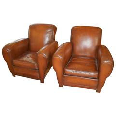 Pair of French Leather Chairs