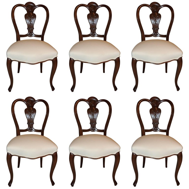 Wonderful Shield Back Set of Six French Leg Carved Back Side Upholstered Chairs For Sale