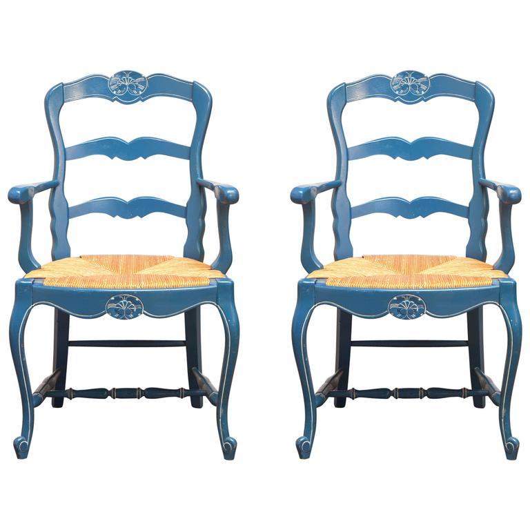 Pair Of French Blue Carved Ladder Back Chairs For Sale