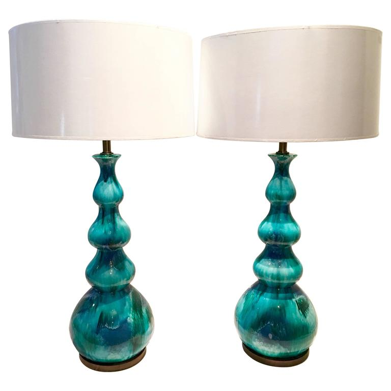 italian ceramic drip glaze four gourd lamp pair for sale at 1stdibs. Black Bedroom Furniture Sets. Home Design Ideas