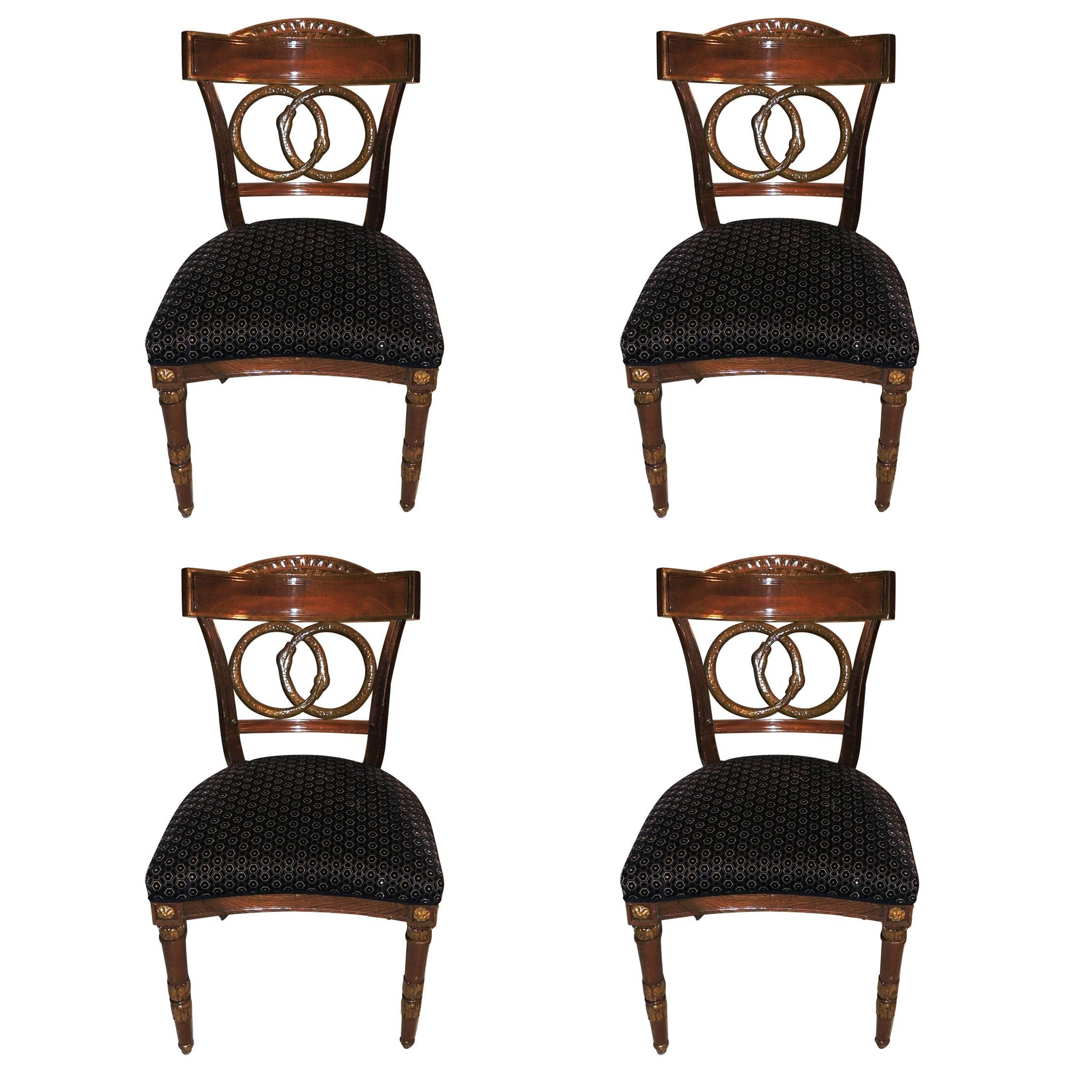 Wonderful Set of Four Regency Upholstered Neoclassical Empire Gilt Side Chairs