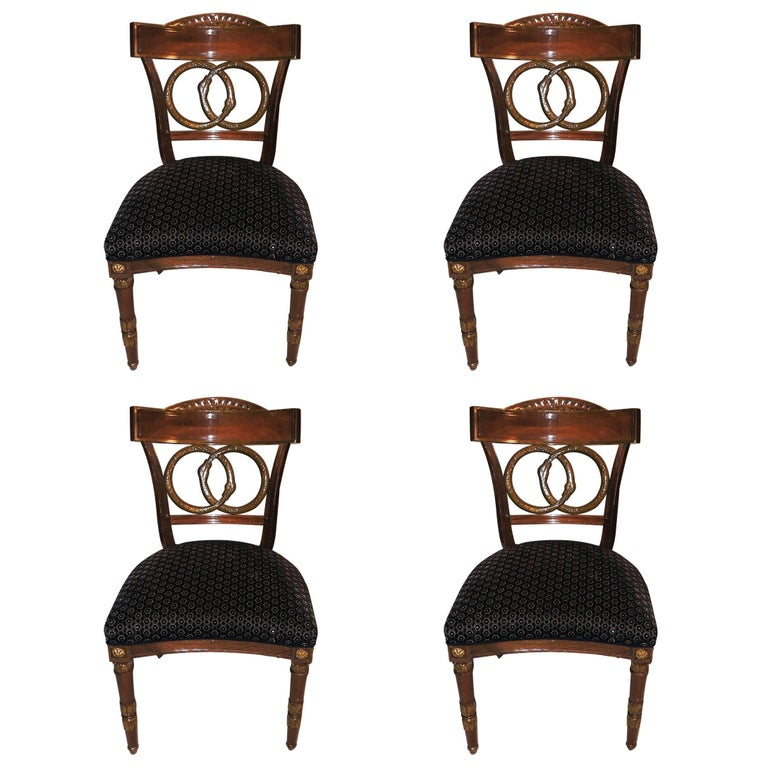 Wonderful Set of Four Regency Upholstered Neoclassical Empire Gilt Side Chairs For Sale
