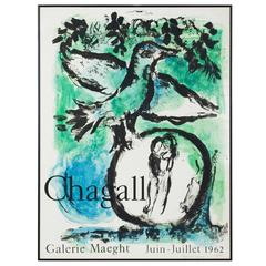 Marc Chagall Lithograph the Green Bird for Gallery Maeght, Paris, 1962