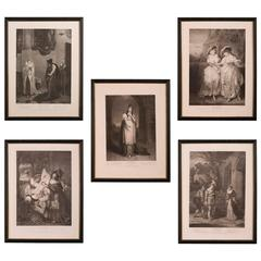 Set of Five Antique Engravings of Shakespeare's Plays, England, 1803